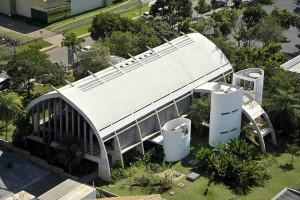 Com formato ogival, o Centro Sebrae de Sustentabilidade se inspirou em construções indígenas. Crédito: Sebrae