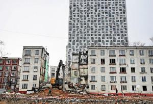Demolição das Khrushchyovkas já começou e reurbanização de Moscou manterá venda de cimento em alta na Rússia. Crédito: prefeitura de Moscou
