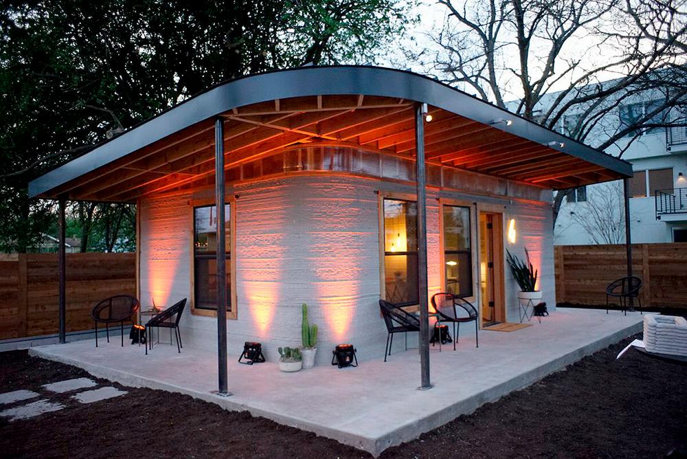 Casa com impressão 3D projetada para países com grandes déficits habitacionais pode custar US$ 4 mil. Crédito: Iconbuild