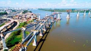 Complexo viário conta com 7,3 quilômetros em obras de arte especiais em trecho fluvial Crédito: Consórcio Ponte do Guaíba