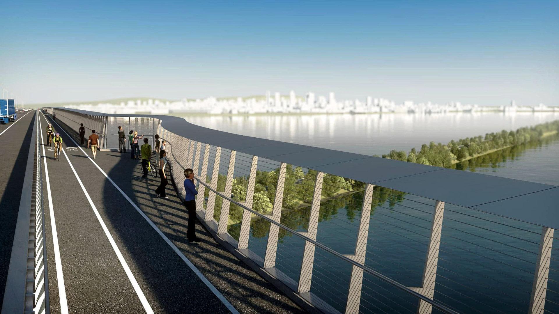 Nova ponte Champlain, em Montreal-Canadá: ciclovia e calçada isoladas das pistas e com barreiras anti-ruído. Crédito: newchamplain.ca