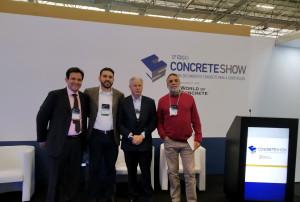 Palestrantes no seminário sobre pavimentação rígida, que aconteceu no Concrete Show: Brasil tem potencial para crescer muito sua malha em pavimento de concreto Crédito: Cia. de Cimento Itambé