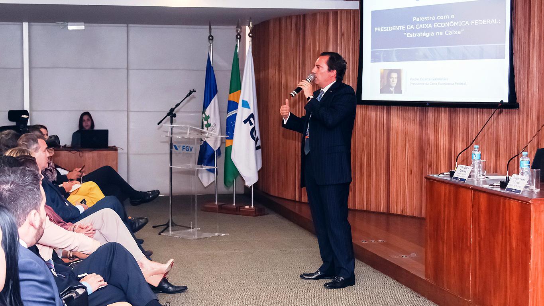 Pedro Guimarães, em palestra na FGV EPGE: fim das indexações nas prestações da casa própria deve ocorrer a partir de março de 2020 Crédito: FGV EPGE
