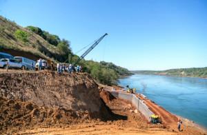 Estrutura que vai sustentar um dos pilares da Ponte da Integração já está em obras, no lado brasileiro Crédito: Itaipu Binacional