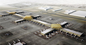 Aeroporto internacional Al Maktoum, em Dubai: estrutura para receber 200 aviões por hora. Crédito: Leslie Jones Architecture
