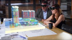 Realidade aumentada permite que uma imagem 3D apareça no local exato do mundo real em que a obra será construída. Crédito: Banco de Imagens