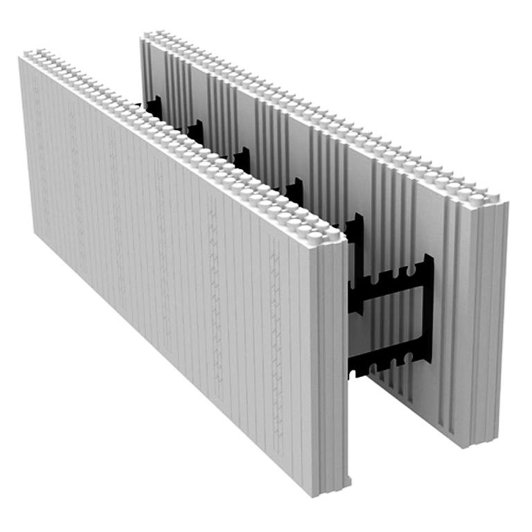 Fôrmas que isolam o concreto encapsulam o material dentro da estrutura plástica e garantem acabamento e o desempenho termoacústico às paredes. Crédito: Logix