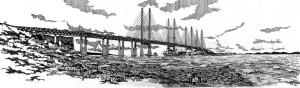 Arquiteto Alan Dunlop foi o primeiro a esboçar no papel como poderá ser a ponte entre Escócia e Irlanda do Norte. Crédito: Alan Dunlop Architects