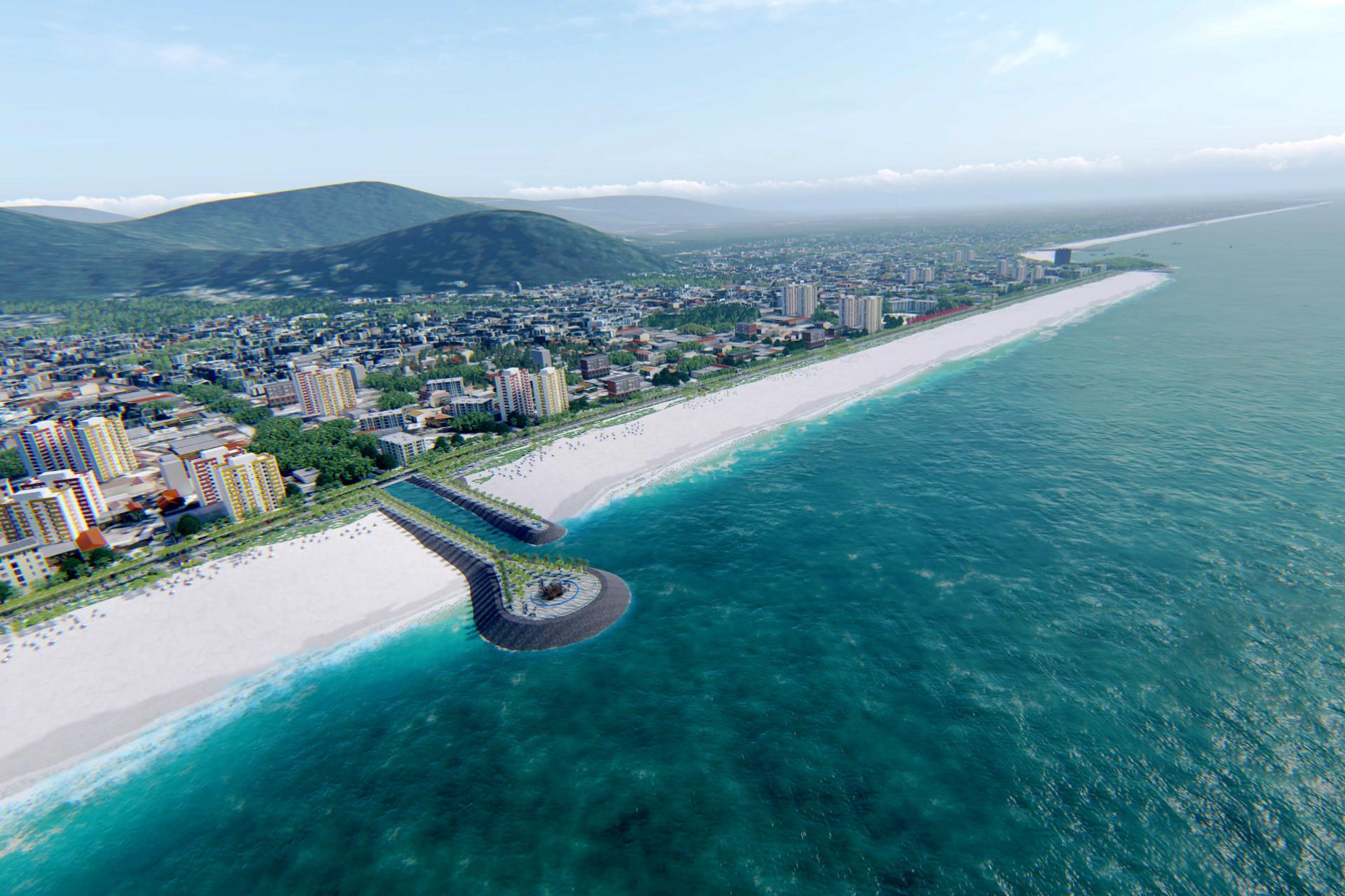 Engorda da orla de Matinhos prevê a construção e a revitalização de canais, para que a faixa de areia chegue a 80 metros. Crédito: AEN