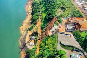 Segunda ponte ligando Brasil e Paraguai: lado brasileiro segue em ritmo acelerado e concretando blocos de fundação. Crédito: Alexandre Marchetti/Itaipu Binacional