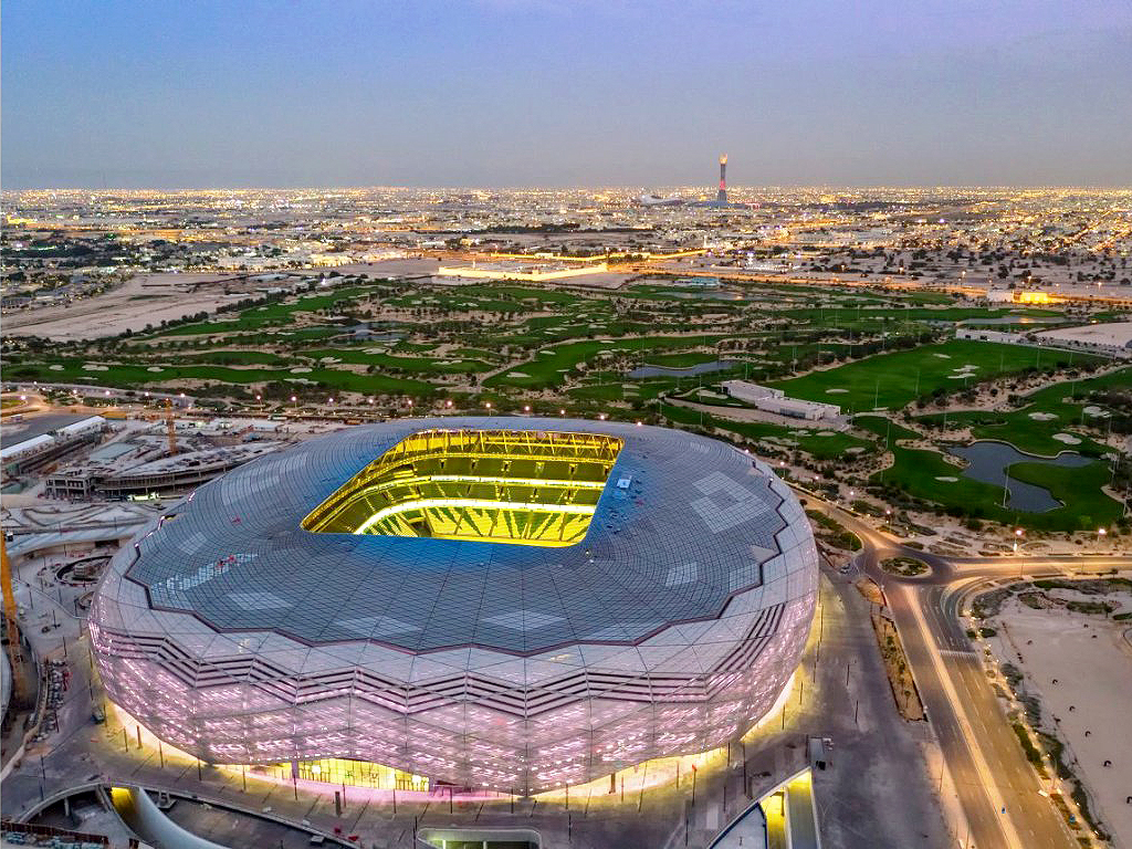 Popularmente chamada de Diamante do Deserto, o Education City Stadium é considerada a arena mais sustentável do mundo Crédito: Qatar 2022