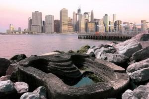 Bloco de concreto bio-reforçado serve de abrigo para vidas marinhas, como algas e crustáceos Crédito: ECOncrete Tech