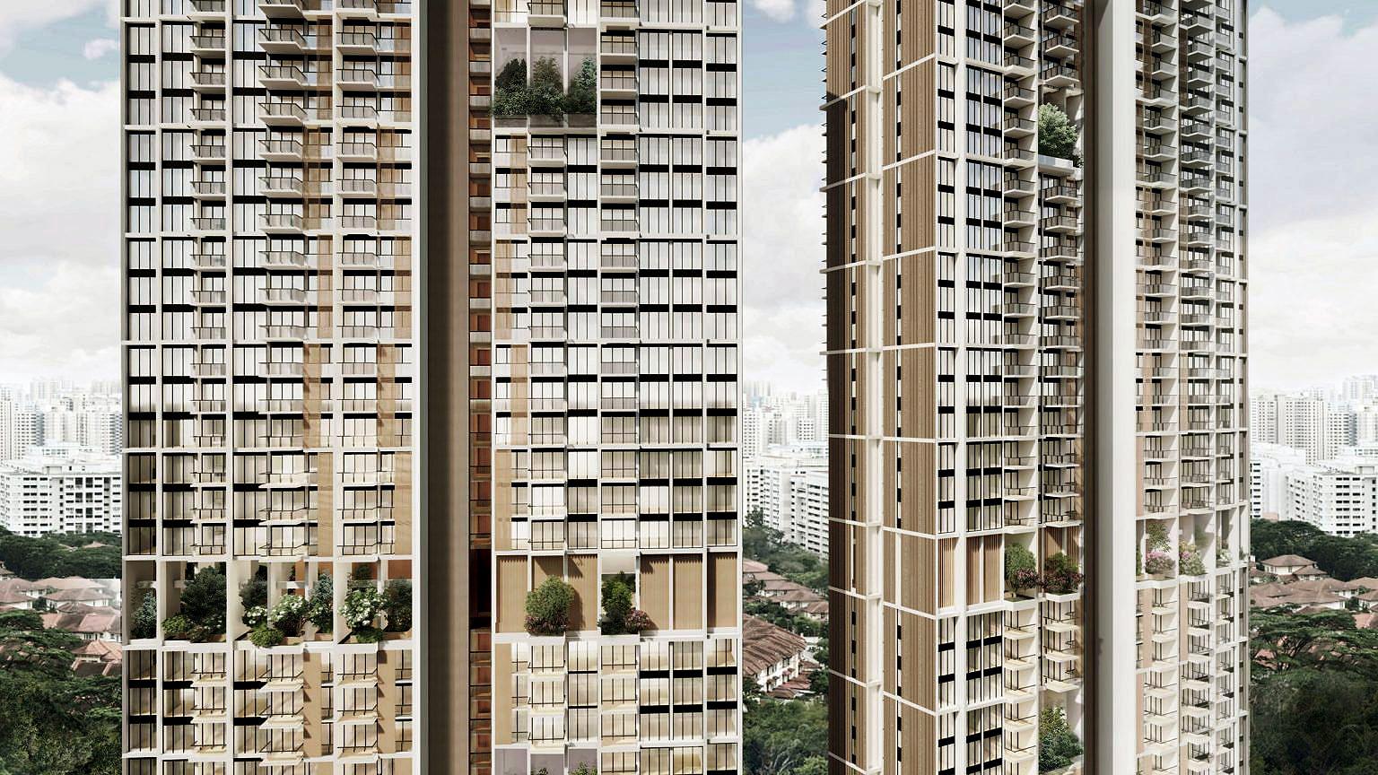 Cada prédio terá 1.074 unidades residenciais e nos andares 19 e 36 haverá grandes vãos para abrigar terraços verdes a céu aberto Crédito: ADDP