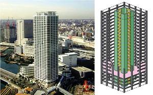Edifício Nabeaure Yokohama Tower, no Japão: vigas e pilares do núcleo do prédio usaram tecnologia do concreto dobrável para segurança contra abalos sísmicos Crédito: American Scientist