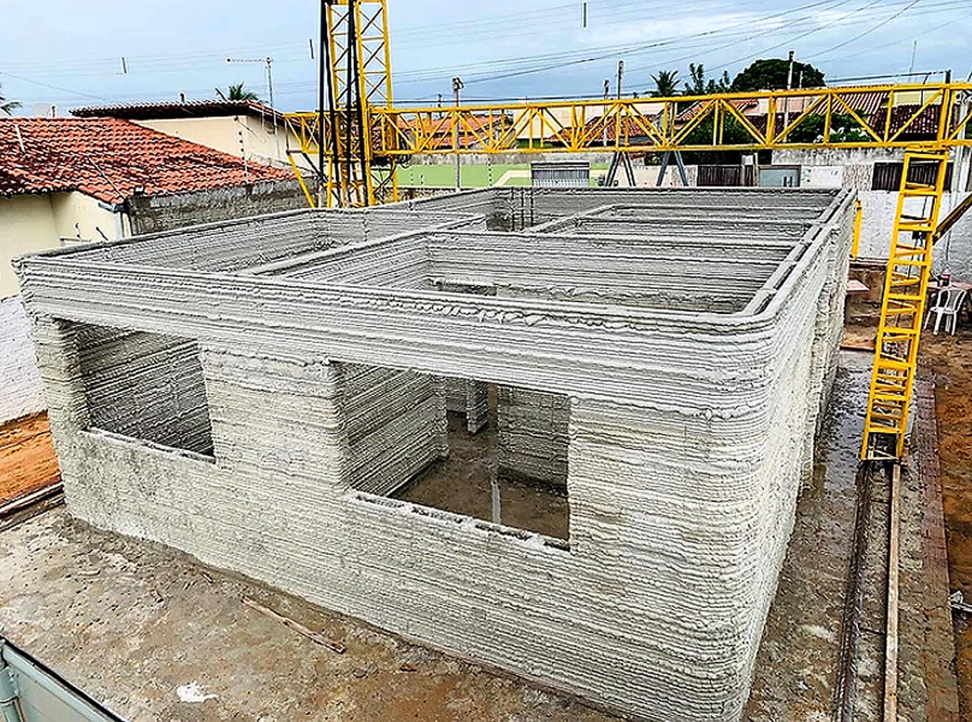 Estrutura da casa foi construída ao longo de 7 meses, mas pesquisadores trabalham para replicar modelo em 24 horas Crédito: 3DHomeConstruction