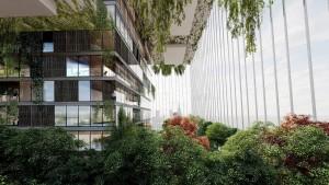 Núcleo central do prédio projetado pelo estúdio de arquitetura Lissoni & Partners é circundado por grandes jardins suspensos apoiados por uma cortina de cabos de aço Crédito: Lissoni & Partners