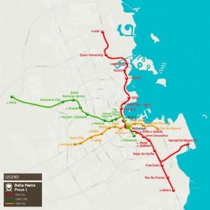 As 3 linhas do metrô de Doha vão interligar 6 estádios da Copa do Mundo de 2022 e permitirão conexões com outros 6 estádios Crédito: Qatar Rail