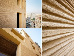 Argamassa do revestimento externo tem 35 centímetros de espessura e protege as paredes de concreto contra patologias Crédito: Lina Ghotmeh Architecture