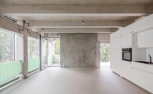 Visão interna do prédio em Berlim: do piso ao teto, domínio total do pré-fabricado de concreto Crédito: FAR