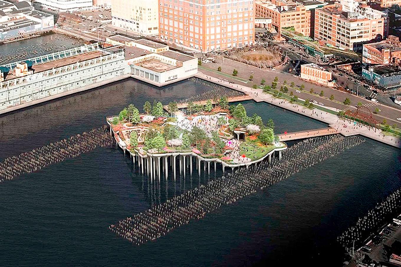 Construída no local do antigo Pier 55 de Nova York, a Little Island é um investimento privado de 250 milhões de dólares, cujo projeto foi concebido em 2014 Crédito: Little Island