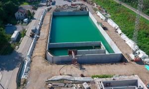 Estação de tratamento de água de Akron, em Ohio: concreto com resistência de 68 MPa Crédito: Slag Cement Association