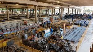 As duas unidades da Protendit, no interior de São Paulo, fornecem elementos pré-fabricados para a obra em Minas Gerais. Crédito: Protendit