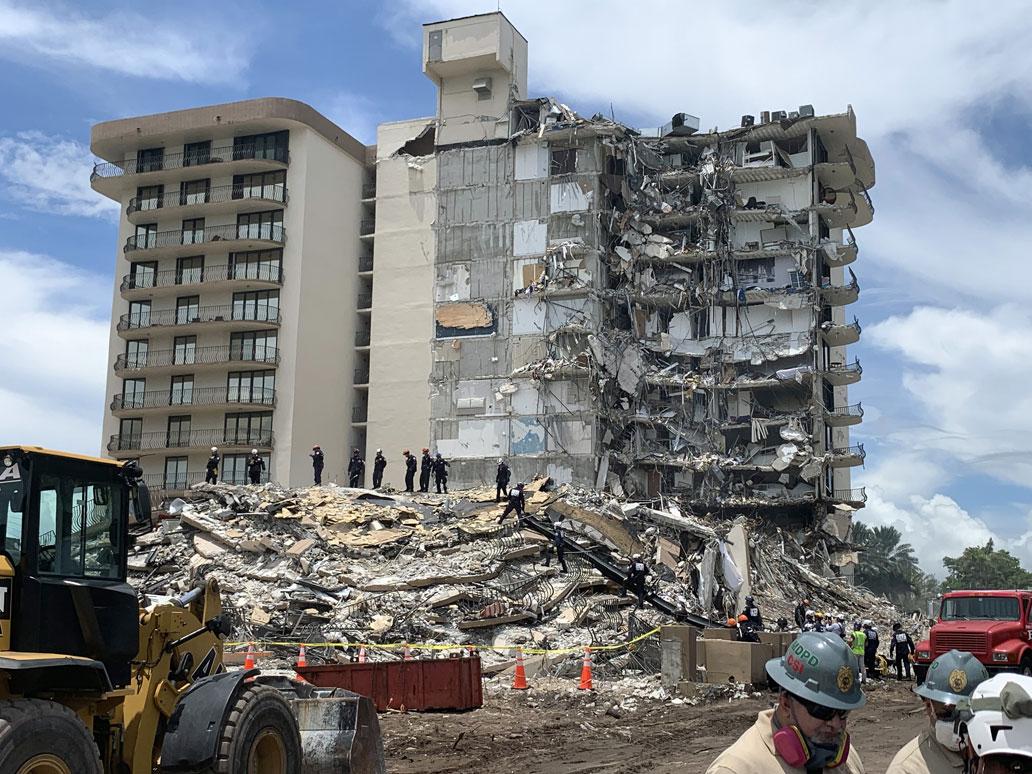 Prédio com 12 pavimentos e 136 unidades residenciais nunca recebeu manutenção ao longo de seus 40 anos e tinha uma série de problemas nas estruturas de concreto, o que causou o desabamento parcial Crédito: National Institute of Standards and Technology/NIST