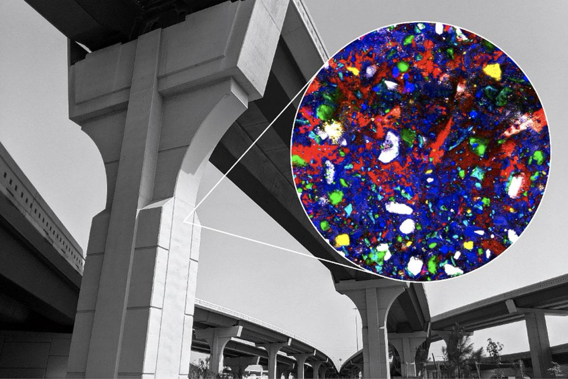 Imagem colorida de alta resolução divulgada pelo CSHub mostra a hidratação de alita (branco) formando CSH (azul) e portlandita (vermelho). Outros componentes são belite (verde) e calcita (amarelo) Crédito: CSHub