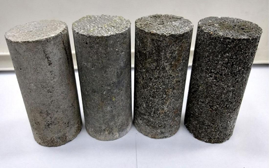 Corpos de prova de concreto leve com areia desenvolvida na Feevale, a partir de resíduos de couro Crédito: Feevale