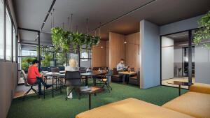 Construtoras e incorporadoras apostam que lajes corporativas do pós-pandemia serão sem lugares demarcados e com maior número de salas de reunião Crédito: Vitacon