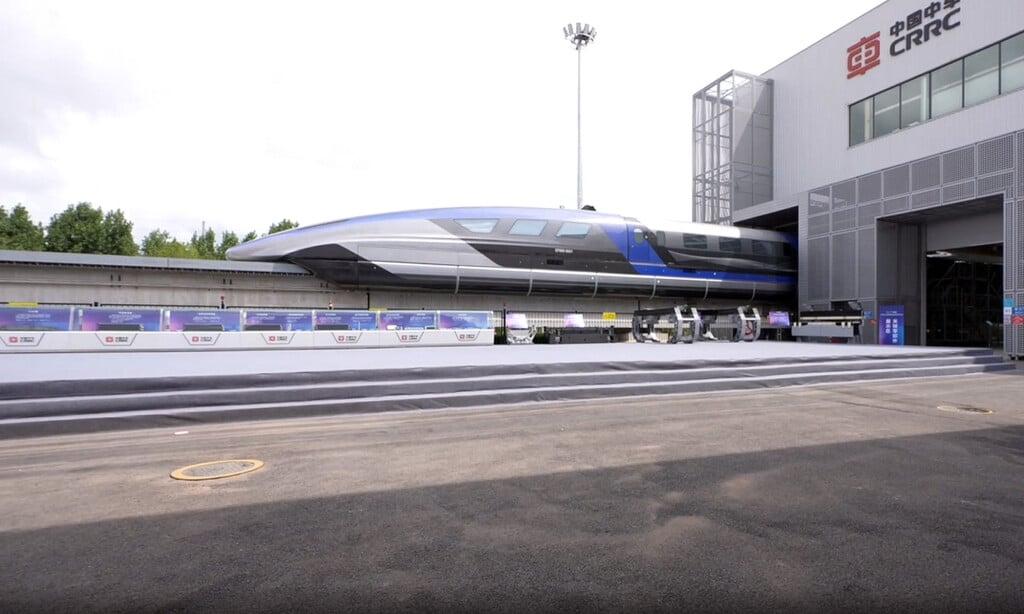 Trem maglev mais rápido do mundo foi apresentado dia 20 de julho de 2021, na pista de teste da cidade de Qingdao, na China Crédito: Agência Xinhua