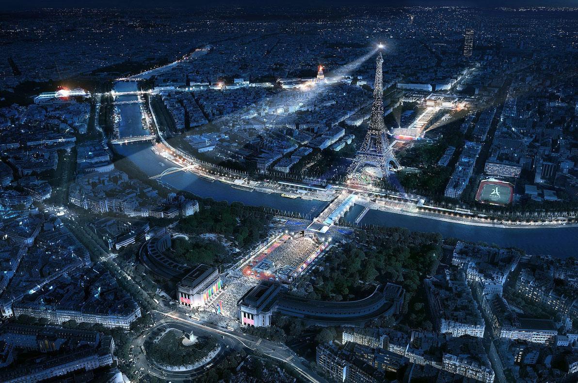 Projeção de como ficará o Campo de Marte durante as olimpíadas de 2024, em Paris: estruturas temporárias vão predominar nos jogos Crédito: Paris2024