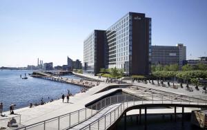 Kalvebod Waves: a praia de concreto de Copenhague, na Dinamarca, que foi inaugurada em 2013 Crédito: Julien De Smedt