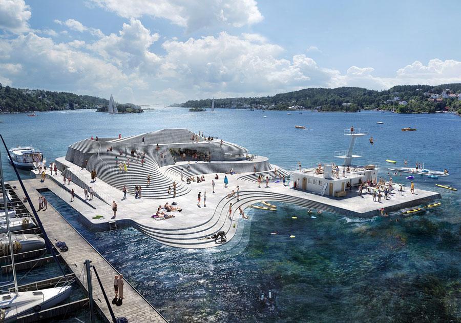 Projeto da Snøhetta em Arendal, na Noruega: praia de concreto está prevista para ser inaugurada em 2024 Crédito: Snøhetta