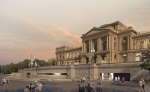 Projeção mostra como ficará a fachada do Museu do Ipiranga após a restauração: nova entrada para o público Crédito: H+F Arquitetos