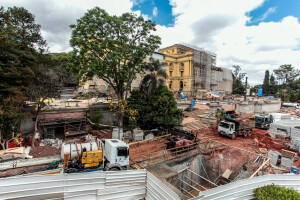 Canteiro de obras do Museu do Ipiranga: trabalhos de ampliação e restauração alcançaram 70% do cronograma Crédito: Marcelo Pereira/SECOM