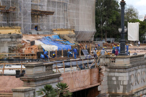Novas estruturas de concreto reforçaram as fundações do museu e abriram espaço para a transformação do subsolo do edifício-monumento Crédito: Governo de SP