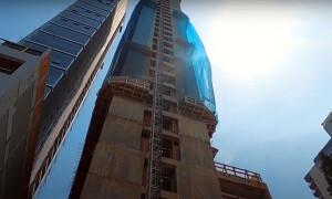 Ibituruna Tower, em construção na cidade de Governador Valadares-MG: por enquanto, o edifício mais alto do Brasil com a tecnologia de paredes de concreto. Crédito: WR Construtora e Incorporadora